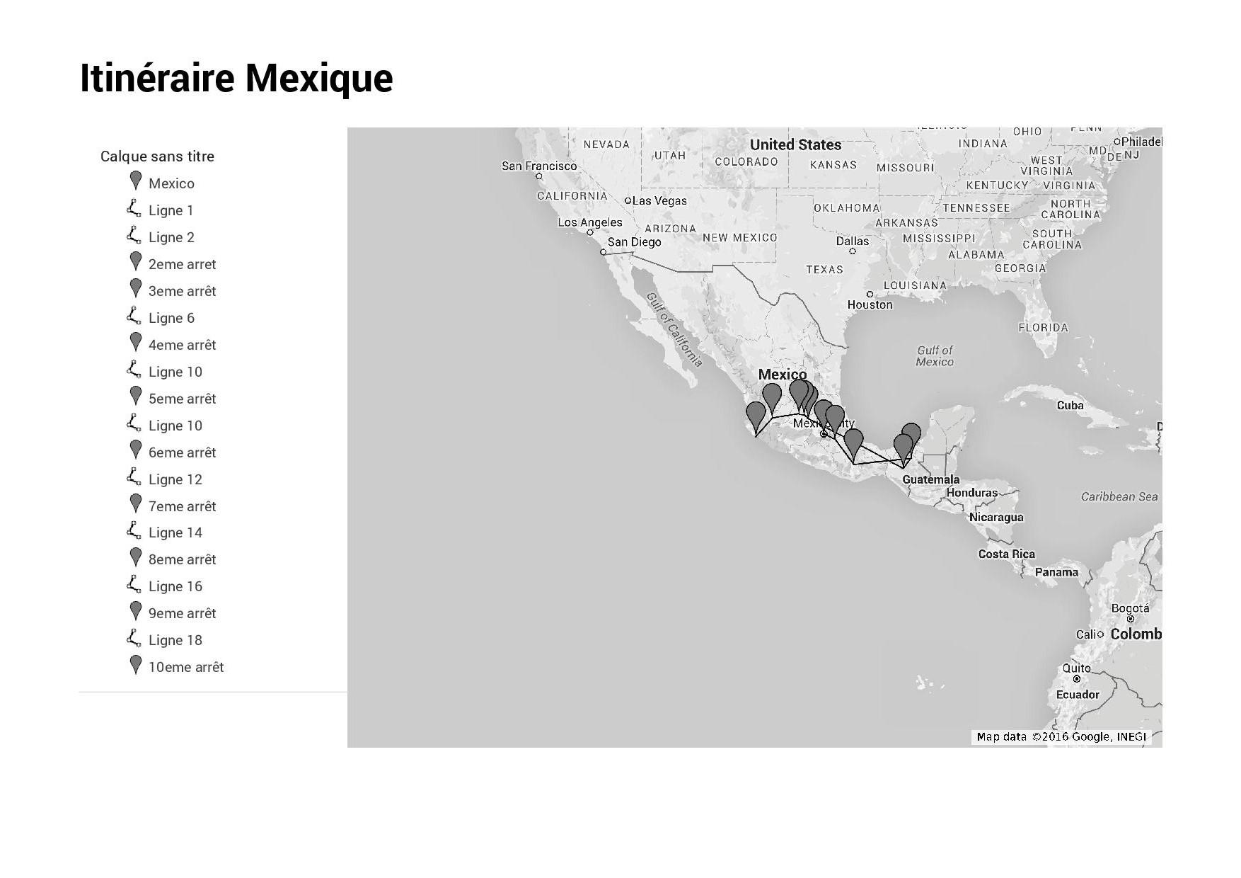 Itinéraire Mexique Juin 2016